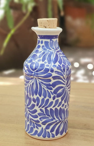 mexican ceramics blue oil cruet folk art hand painted
