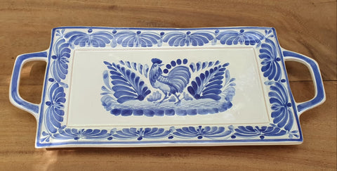 mexican ceramics rooster blue tray folk art hand painted rooster