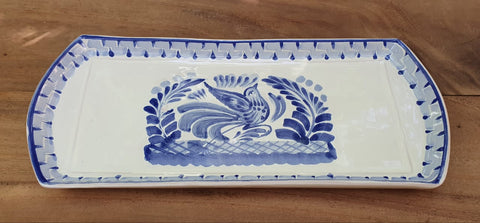 bird mexican ceramics blue tray folk art hand painted bird