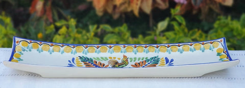 mexican-ceramic-canoa-tray-pottery-hand-made-mexico-snack-tableware-rooster-motive
