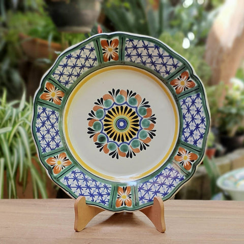 mexican pottery folk art hand painted flower dinner plate