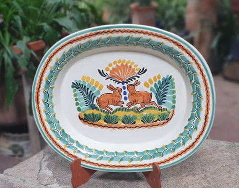 mexican tray pottery  rabbit motive folk art guanajuato