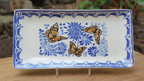mexican plates tray folk art butterfly hand painted gto