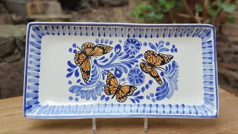 mexican plates tray butterfly folk art hand painted gto