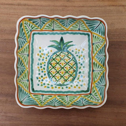 mexican plates folk art hand painted pineapple bowl gto