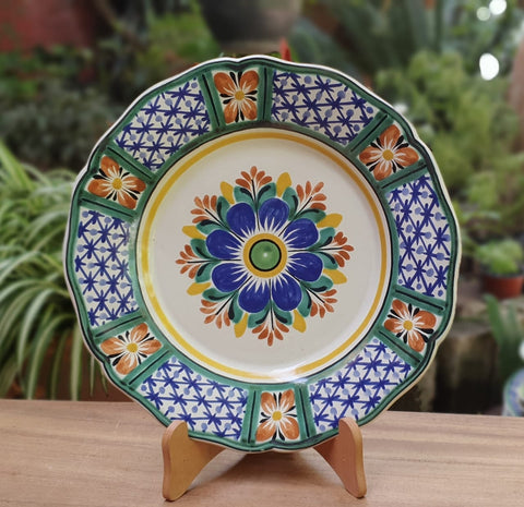 mexican pottery folk art hand painted flower salad plate guanajuato