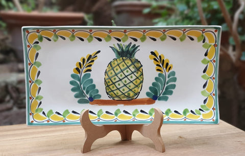 mexican plates folk art pineapple tray hand made mexico