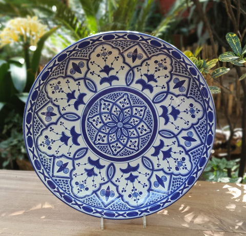 mexican platter decorative folk art hand made majolica blue colors by gorky gonzaez workshop