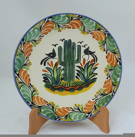 mexican-plates-hand-painted-hand-wheel-folk-art-red-peacock-gorky-workshop