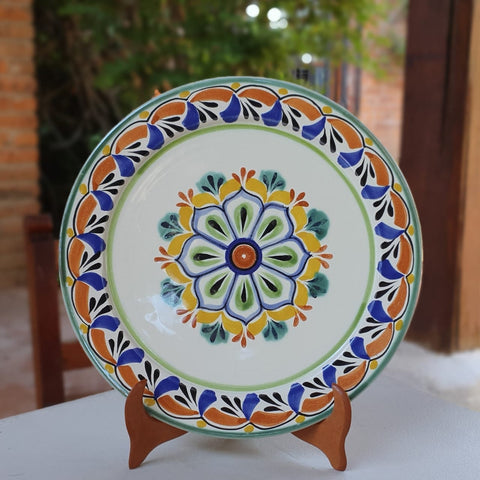 mexican-plates-dinner-plate-majolica-pottery-folk-art-hand-thrown-amazon-gorky-workshop-flower-motive