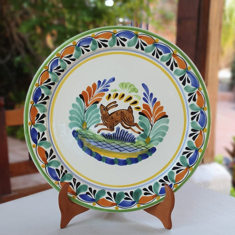 mexican-plates-dinner-plate-majolica-pottery-folk-art-hand-thrown-amazon-gorky-workshop-rabbit-motive