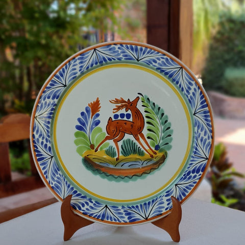 mexican-plates-dinner-plate-majolica-pottery-folk-art-hand-thrown-amazon-gorky-workshop-deer-motive