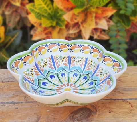 mexican salad bowl ceramic pottery hand painted majolica mexico