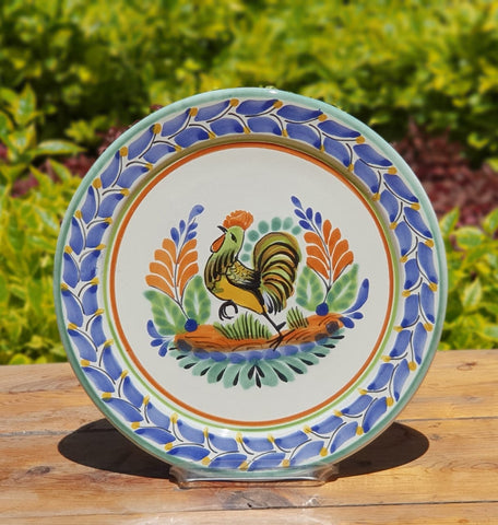 mexican plates majolica rooster motive hand made mexico