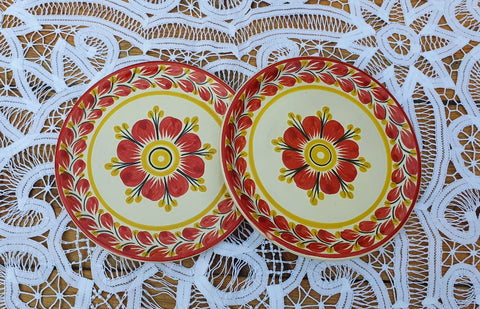 mexican plates folk art hand thrown bread plate red flower motive gorky workshop