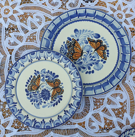 mexican plates hand painted folk art talavera butterfly monarch motive gorky ideas