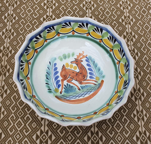 mexican bowl ceramic hand thrown folk art mexico dinnerware deer motive