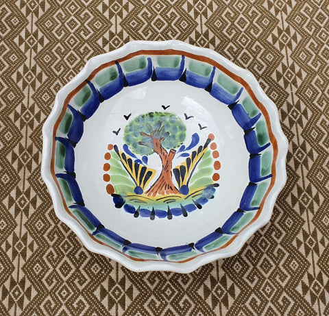 mexican bowl ceramic hand thrown folk art mexico dinnerware tree motive