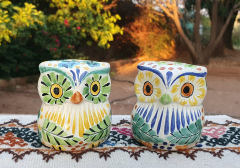 mexican owl salt and pepper decorative pottery table decor