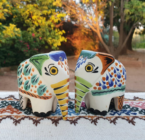 mexican elephant salt and pepper decorative pottery table decor