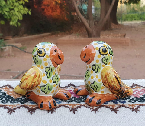 mexican pottery parakeet figure maolica hand painted mexico gorky tableware