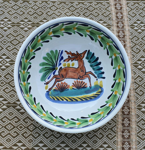 mexican ceramic dinnerware pottery cereal soup bowl majolica mexico deer motive