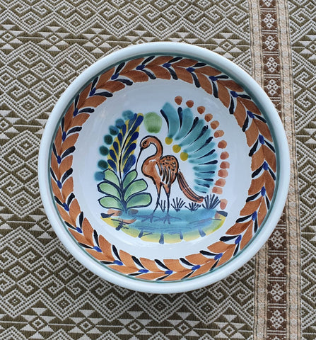 mexican ceramic dinnerware pottery cereal soup bowl majolica mexico heron motive