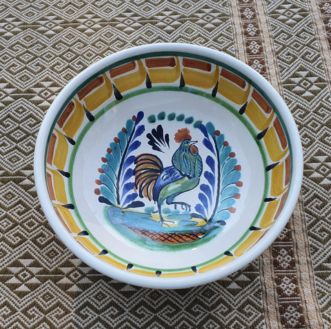 mexican ceramic dinnerware pottery cereal soup bowl majolica mexico rooster motive