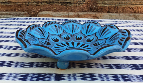 mexican ceramics footed snack dish pottery hand painted contemporary flower