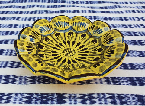 mexican ceramic dinnerware pottery snack dish flower majolica contemporary mexico
