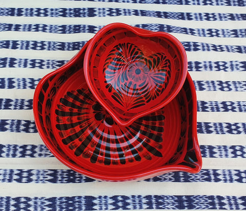 mexican ceramics dinnerware table decor majolica mexico gorky workshop heart bowl red contemporary