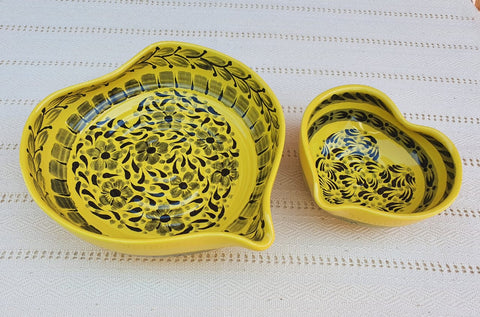 mexican ceramics dinnerware table decor majolica mexico gorky workshop heart bowl yellow contemporary