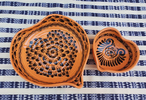 mexican ceramics dinnerware table decor majolica mexico gorky workshop heart bowl orange contemporary