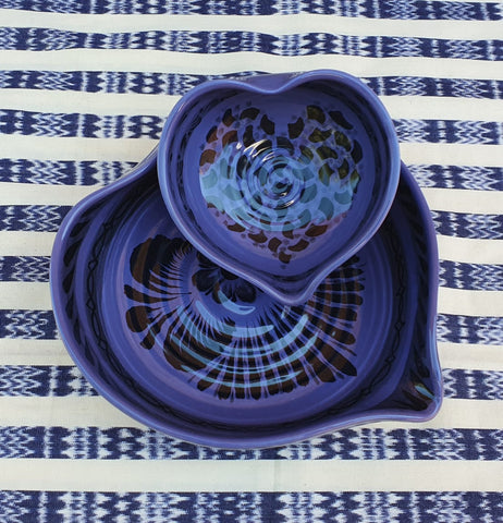 mexican ceramics dinnerware table decor majolica mexico gorky workshop heart bowl purple contemporary