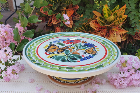 mexican table decor cake base  majolica talavera hand made mexico butterfly pattern