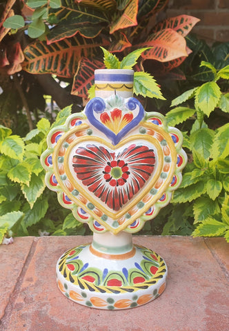 mexican pottery Love heart candle holder majolica hand painted mexico