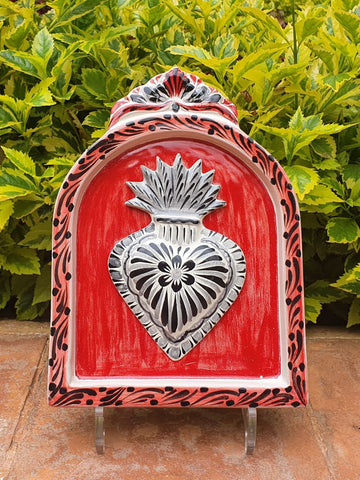mexican pottery home decor majolica mexico red heart altar piece wall