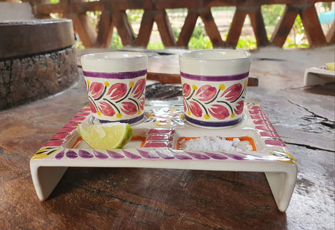 mexican-pottery-ceramic-teq-shot-set-for-party-fathers-day-gift-majolica-made-in-mexico-purple-colors