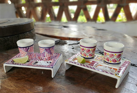 mexican-pottery-ceramic-tequila-set-for-party-fathers-day-gift-majolica-made-in-mexico-purple-colors