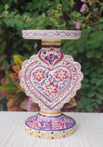 mexican-purple-decorative-candle-holder-majolica-for-sale