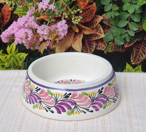 mexican-decorative-dog-bowl-pruple-majolica-for-sale-flower-design