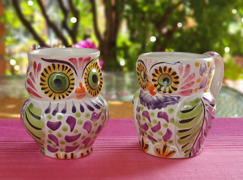 mexican-mugs-owl-shape-decorative-tableware-purple-majolica-mexico
