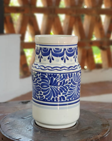 mexican-ceramic-pottery-decorative-vase-hand-made-mexico-blue-talavera-majolica
