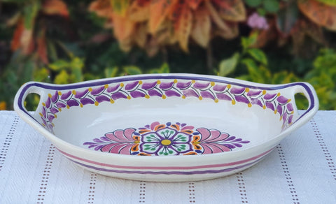 mexican-ceramic-pottery-oval-bowl-with-handle-talavera-majolica-hand-made-mexico-table-serving-flower-motive-purple