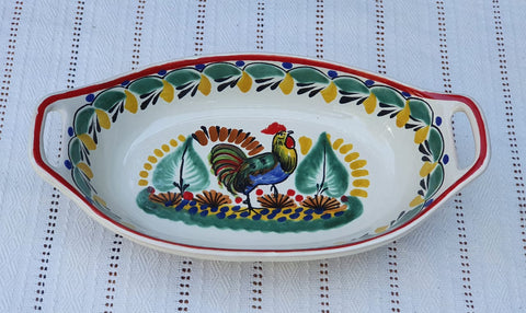 mexican-ceramic-pottery-oval-bowl-with-handle-talavera-majolica-hand-made-mexico-table-serving-rooster-design