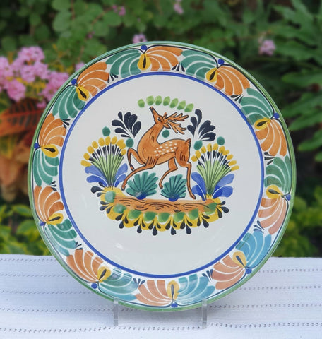 mexican-plates-ceramic-pottery-hand-made-mexico-tableware-deer-motive