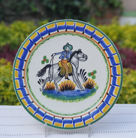 mexican-charger-dinner-plates-ceramic-pottery-hand-made-mexico-tableware-cowboy-motive