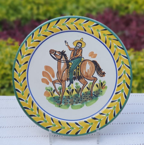 mexican-plates-ceramic-pottery-hand-made-mexico-tableware-cowboy-motive