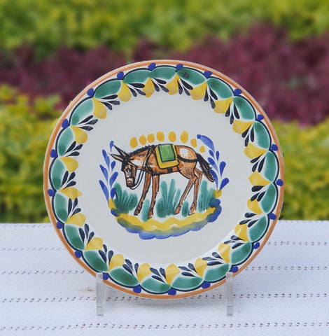 mexican-charger-plates-ceramic-pottery-hand-made-mexico-tableware-donkey-pattern