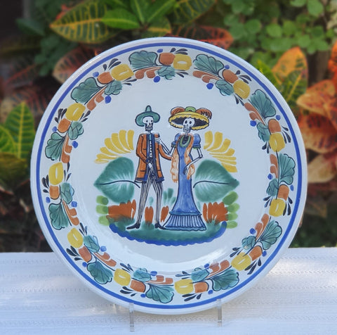 ceramic-decorative-platter-catrina-halloween-day-mexican-culture
